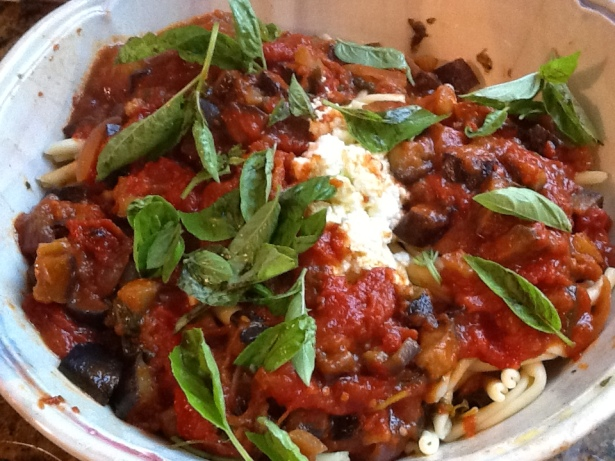 eggplant sauce in bowl:basil