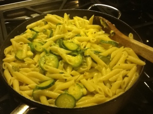Mamma A pasta with zucchini in pan