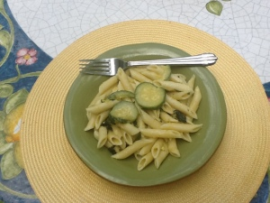 Mamma A pasta with zucchini plated