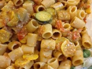 poolside pasta closeup