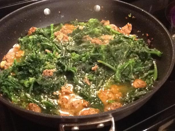 orecchiette pan with liquid