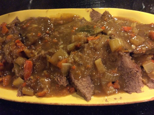 ginger pot roast plated closeup