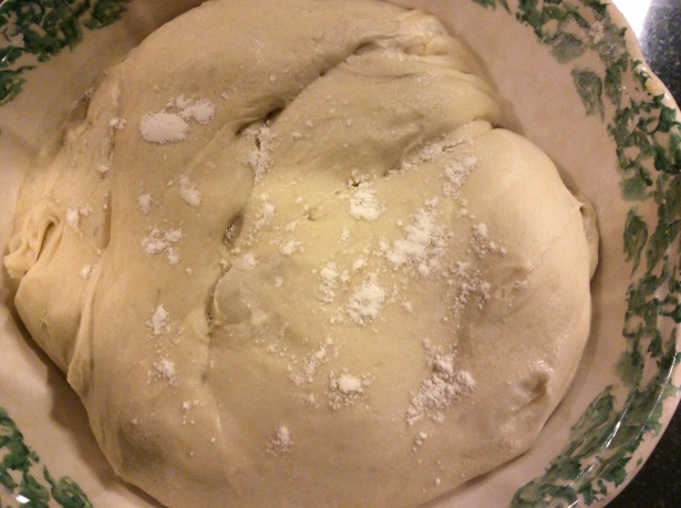 mom pizza dough risen