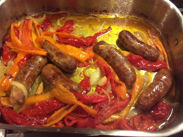 sausage and peppers pan cooked?