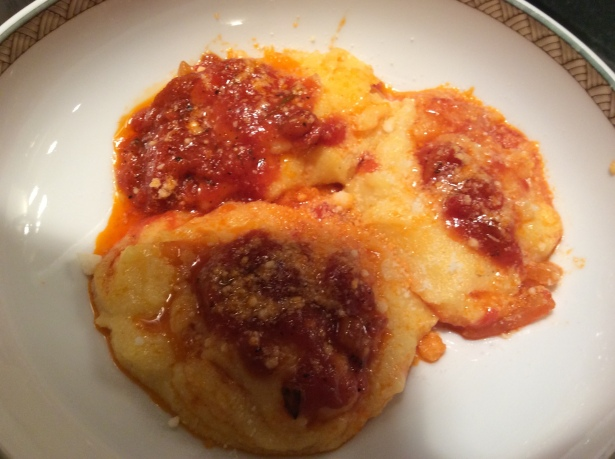 polenta plated close up