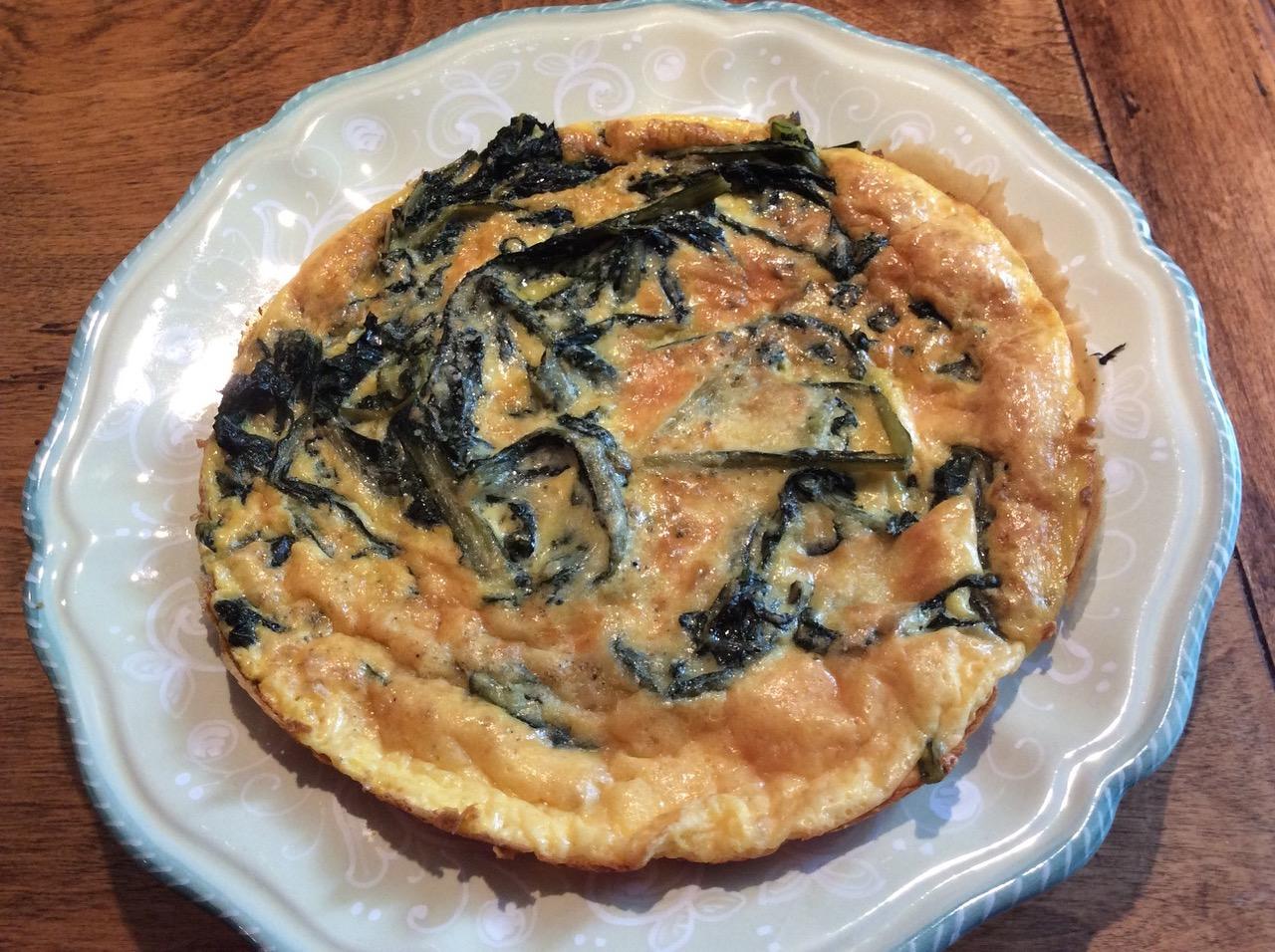 dandelion omelet plated**